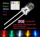 3mm & 5mm Clear / Diffused Ultra Bright LED Red White Blue Yellow & Green UK NEW