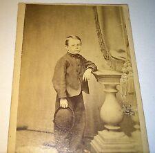 Antique Civil War Young Boy Harlan! Fantastic Hat! C.1860 Brooklyn, NY CDV Photo