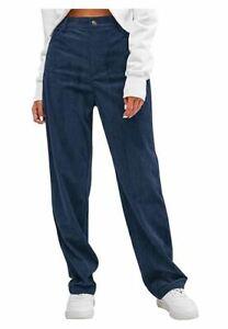 ZAFUL High Waisted Corduroy Pants Straight Leg Trouser Vintage Deep Blue Size M