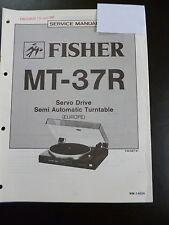 Original Service Manual Fisher Semi Automatic Turntable MT-37R