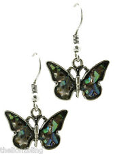 Bohemian Petite Antiqued Silver Butterfly Earrings with Iridescent Bling