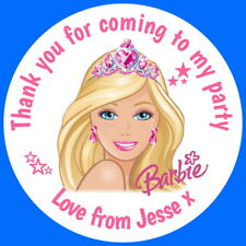 PERSONALISED BARBIE GLOSS BIRTHDAY  BIRTHDAY PARTY,STICKERS,SWEET CONE LABELS