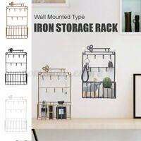 Wall Mounted Shelf Metal Hanger Hanging Key Storage Rack Home Holder