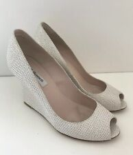 LK Bennett Erica Glitter Print Peep Toe Leather Wedge Shoes Heels Soft Gold UK 4
