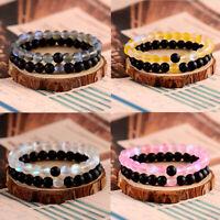 Charm Couples Distance 8MM Natural Stone Bead Lover Men Women Bracelets Gift