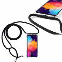 HandyKette Hülle Umhänge Tasche mit Hals Band Schutzhülle Case Schnur SCHWARZ