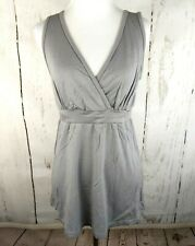 KINDRED BRAVELY Sleeveless V-Neck Tunic Top Gray Small Knit S Womens Blouse NWT