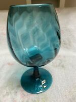 Empoli Mid Century Modern Italian Blue Glass Goblet Base