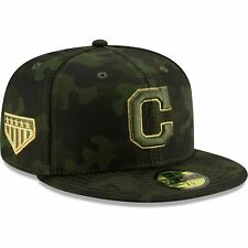 CLEVELAND INDIANS MLB NEW ERA 59FIFTY ARMED FORCES CAMO GREEN FITTED HAT/CAP NWT