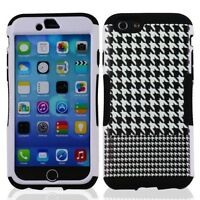 "NEW FOR iPhone 6s / 6 4.7"" BLACK WHITE hooth SKIN STAND COVER CASE + SCREEN FILM"
