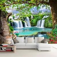 3D Green Big Tree Waterfall Nature Landscape Wallpaper Wall Murals Photo Decor