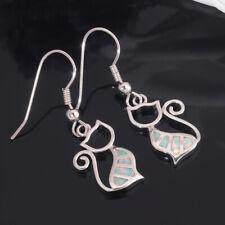 Women Jewelry Gemstone Dangle Earrings Oh3975 White Fire Opal Cat Silver for