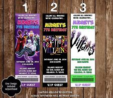 Disney Villains- Bad Guys - Birthday Ticket Invitations - 20 Printed W/envelope