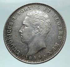 1888 PORTUGAL King Carlos Queen Amelie Cross Discovery India Silver Coin i81586