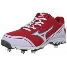 Mizuno 9 Spike Vapor Elite 6 Metal Baseball Cleats Red White New 320421-1000