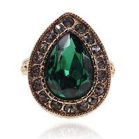VF VS05 Gray Crystal Green CZ Vintage Design Alloy Drip Ring US Size 8,9