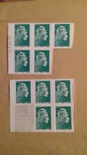 Lot 10 timbres autocollant Lettre Verte Marianne 20g Neuf*