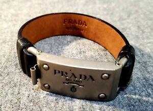 PRADA Black Leather Bracelet with Buckle Clip