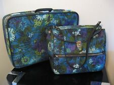 2 Vintage 60s Floral Skyway Luggage 24x16x7 Suitcase & Overnight Weekend Bag Set