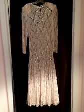 FABULOUS PALE PINK VINTAGE LONG GOWN, WITH SILVER BEADING; DRESS SIZE SMALL