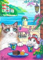 ACEO PRINT OF PAINTING RYTA RAGDOLL CAT MOUSE TEA SEASCAPE SEA CHOCOLATE CAKE