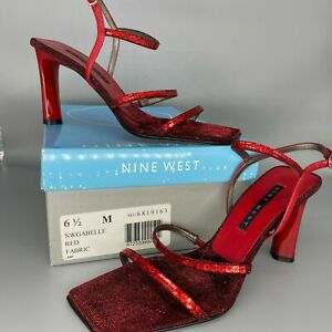Nine West NW Gabelle 6.5 M Red Sequined Strappy Women's Shoe Sexy Heels W/Box