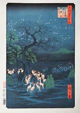 """Véritable Estampe Japonaise De Hiroshige """"Renards de feu la nuit du Nouvel An.."""""""