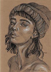 original drawing A4 300SAn art samovar Pastel Modern female portrait sketch