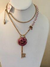Rose large Key Pendant W57 S65 Betsey Johnson Jewelry Glitter