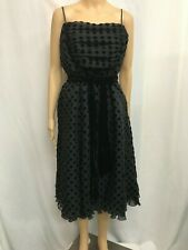 PER UNA SIZE 16 BLACK POLKA DOT RETRO ROCKABILLY FIT AND FLARE DRESS