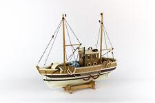 Schiffsmodell Krabbenkutter Modell Schiff maritim Deko Kutter Fischerboot NEU
