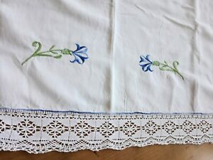 Curtain Valance from Antique French Linen Embroidery Blue Cornflower Pelmet Lace