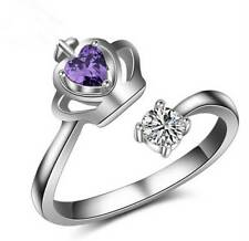 Fashion Women Silver Plated Adjustable Ring Crown Opening Finger Jewelry Gift