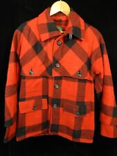 """Vintage Men's Western Field Montgomery Ward Red Plaid Button Down Coat; 29"""" Long"""