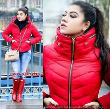 ZARA RED QUILTED JACKET COAT HIDDEN HOOD FUR COLLAR SIZE S UK 8 36