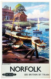 Vintage Blakeney Boats Norfolk Art Railway Travel Poster Print A1/A2/A3/A4