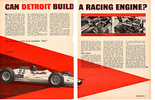 1963 CAN DETROIT BUILD A RACING ENGINE? ~ ORIGINAL 5-PAGE ARTICLE