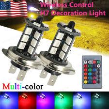 2x H7 5050 27SMD RGB Multi-Color LED Fog Driving Light Bulbs Kit 12V 6000K White