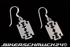 Gothic Schmuck Rasierklinge Razor Blade Ohrringe Ohrhänger 925 Silber Klein NEU