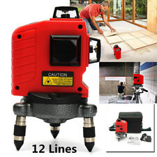 3D Rotary Laser Level Self Leveling 12 Line Vertical Cross Measure Tool Red Beam