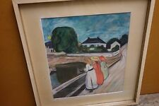 Bild Mädchen auf der Brücke von Edvard Munch, gerahmt Kunstdruck 70er Jahre(?)