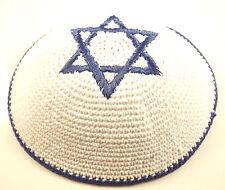 Dark Blue White Star Of David Knitted Yarmulke Kippah 16 cm Jewish Kippa Judaica