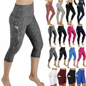 Womens Leggings Capri Yoga Pants Pocket Gym Fitness Running Workout Sports Crop