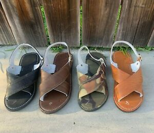 Mens Huarache Cruzado Acojinado de cuero Cafe Cross Padded Sandals Leather