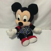 Mattel Disney Baby Mickey Mouse Plush White Blue Yellow Polka Dot Jumper 17""