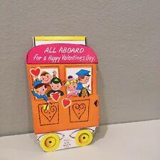 Vintage Valentine Card Children Dog  Trolly Car All Aboard 50's 60's Unused