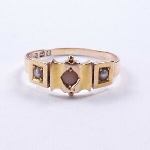 Coral and Pearl Victorian 15 carat gold ring 1881