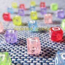 200ps 7x7mm Assorted Tran Square Cube Plastic Beads Mixed Alphabet Letter Random