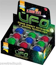 Bulk  Box of 9 Goodboy UFO Dog Impact Activated flashing Balls Pink Green Blue