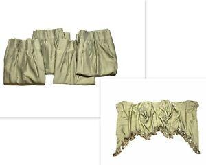 Vintage 1980s JC Penney Luxury Curtains Drapes Set Pinch Pleat Green Valance htf